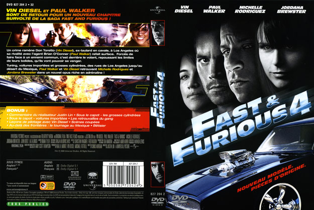 jaquette dvd fast and furious 4. Black Bedroom Furniture Sets. Home Design Ideas