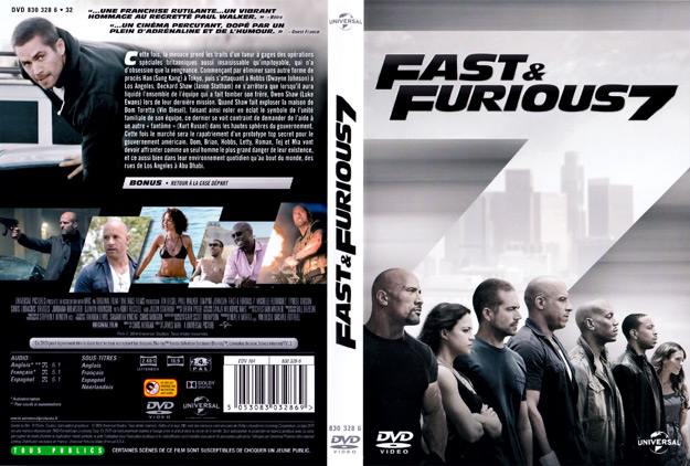 jaquette dvd fast and furious 7