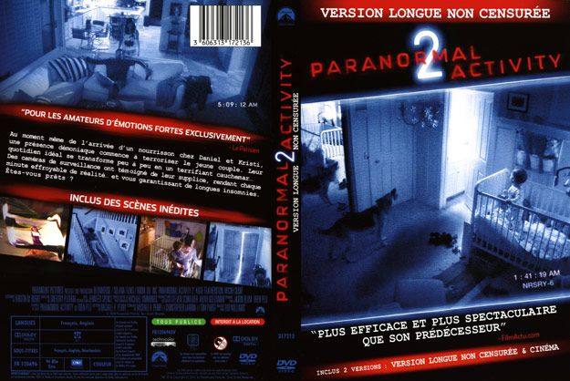 jaquette dvd paranormal activity 2